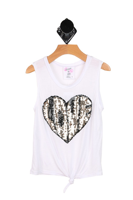 Sequin Heart Knotted Tank (Little Kid)