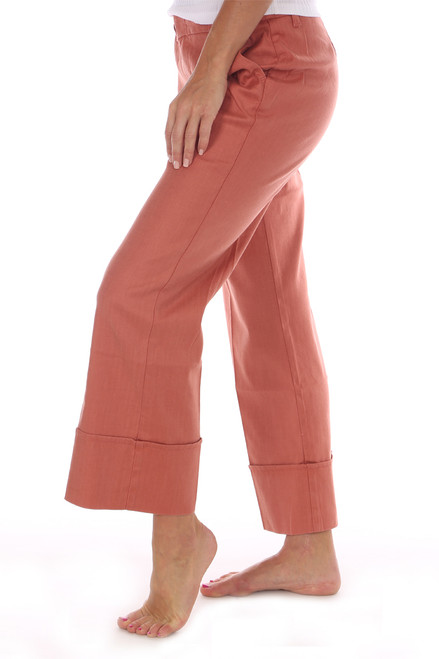 Linen-Blend Lauren Cuffed Culotte Trousers