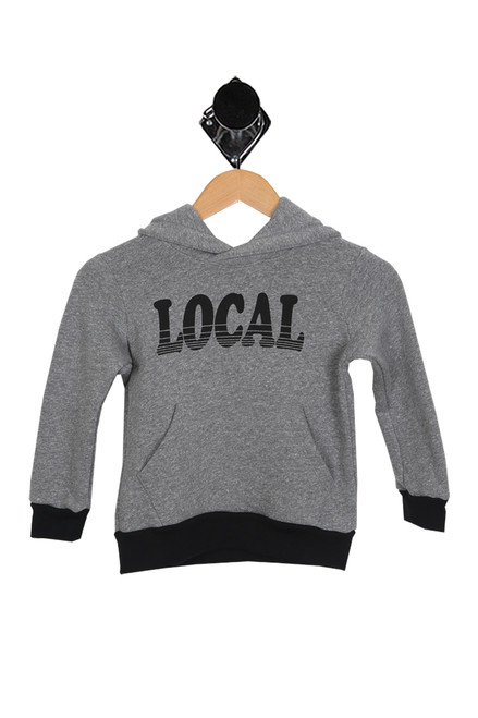 heather grey hoodie with black hemlines and Local printed at front. long sleeves