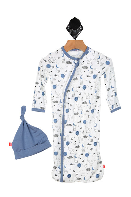 blue elephants, clouds & stars printed all over with sack gown fit and matching blue hat