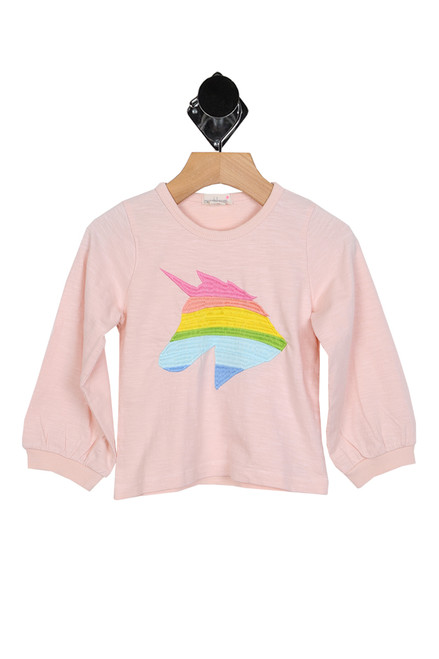 long sleeve pink tee with rainbow unicorn at front for toddler or little girls