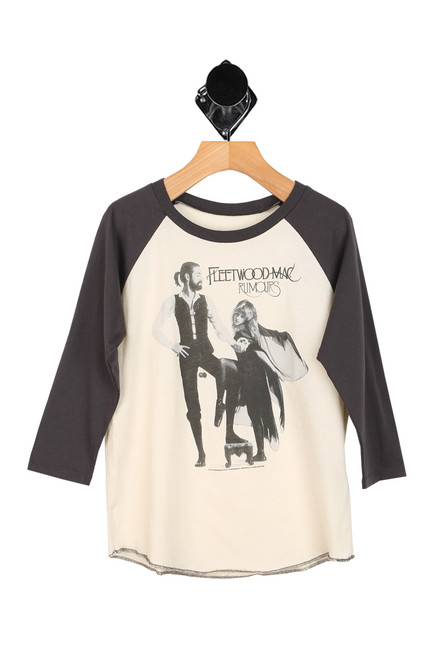 fleetwood mac band printed at front with raglan style tee. dark grey sleeves with cream body