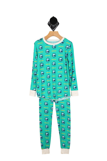 woodstock printed green long sleeve lounge set with matching pants for boys.