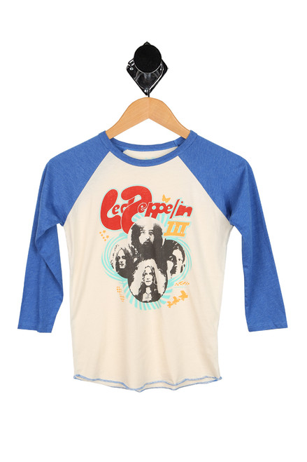 Led Zeppelin band print at front with blue baseball style sleeves
