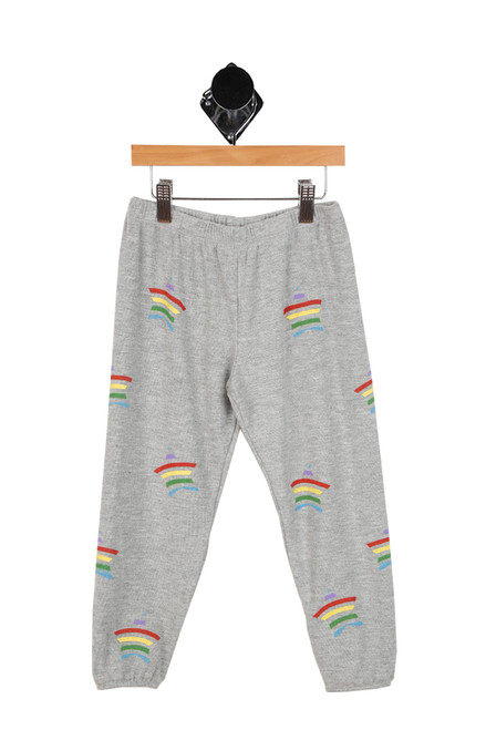 grey sweatpants with rainbow stars all over for girls