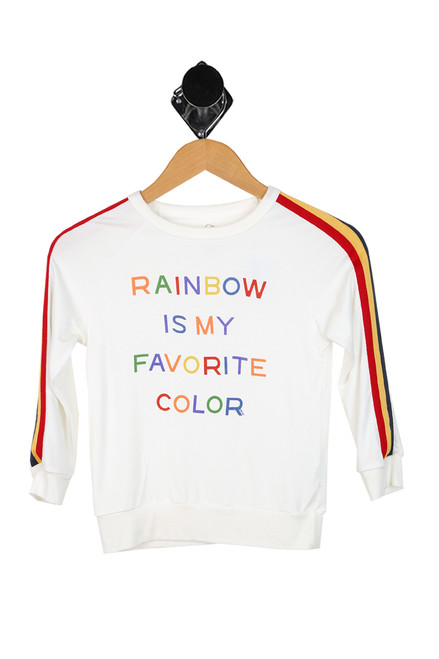 "long sleeve pullover says ""rainbow is my favorite color"" in rainbow lettering with white background"