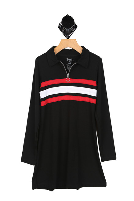 Retro Collared Dress W/ Half Zip (Big Kid)
