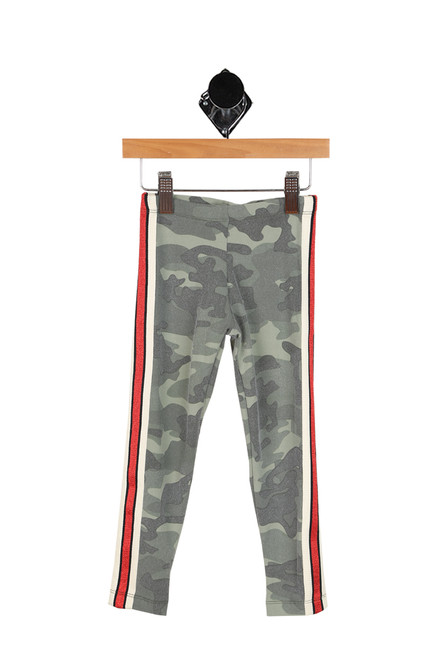 green camo print leggings with red and white stripes down each side of the leg.