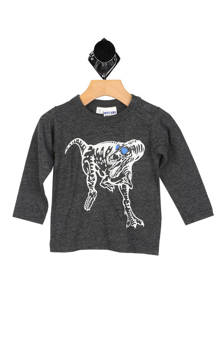 long sleeve dark grey shirt with dinosaur printed in white