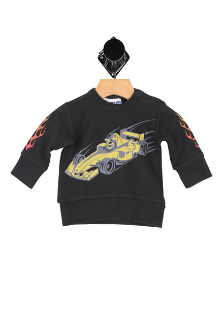 long sleeve black sweatshirt with flames on sleeves and yellow racing car printed at front