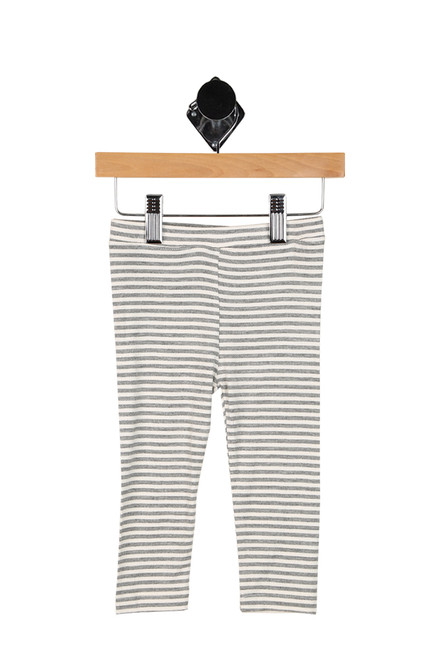 heather grey and white striped leggings for baby girls