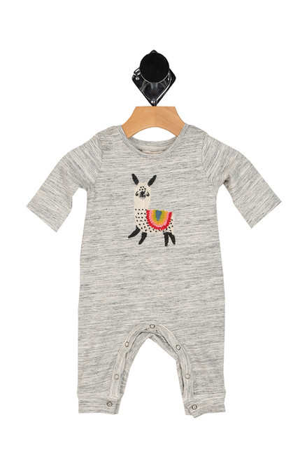 heather grey onesie with embroidered llama at front.