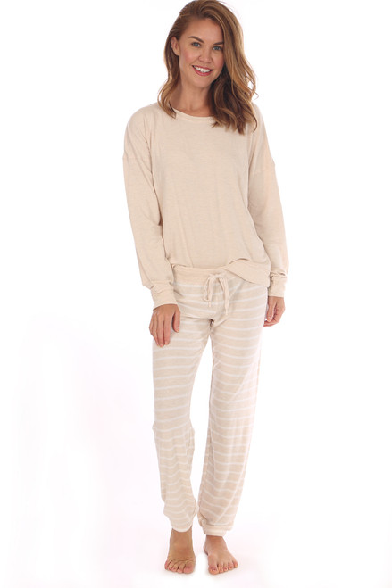 Oatmeal & Striped Pajama Set