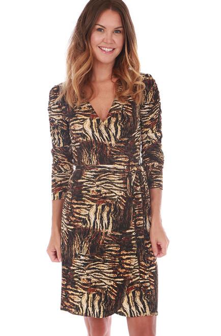Ruched L/S Wrap Dress