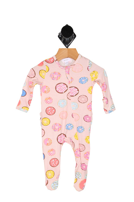 Ruffle Back Zipper Footie Onesie (Infant)