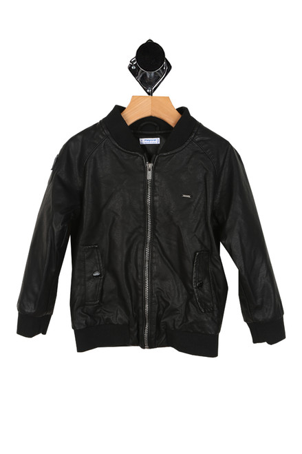 Faux Leather Bomber Jacket (Little/Big Kid)