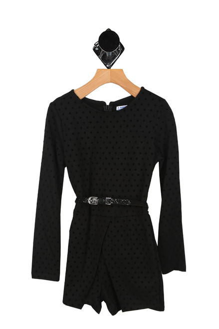 Polka Dot L/S Belted Romper (Big Kid)