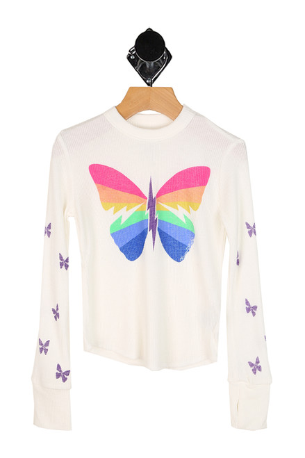 long sleeve thermal top with rainbow butterfly at front with purple butterflies down both arm sleeves