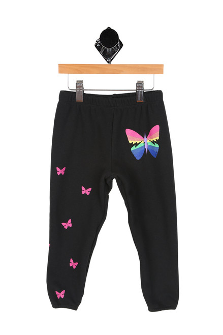 black sweatpants with rainbow and pink butterflies all over. elastic band at waist and ankles.