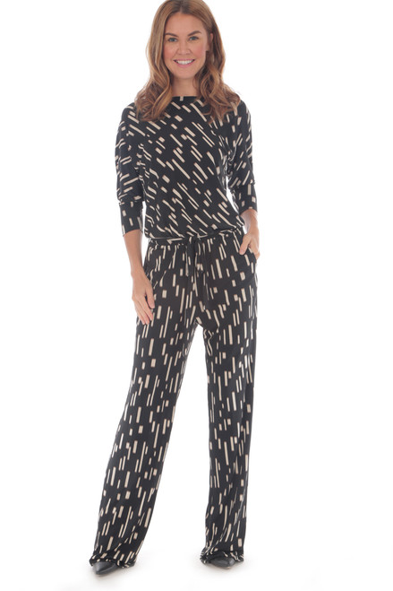 3/4 Sleeve Belted Jumpsuit