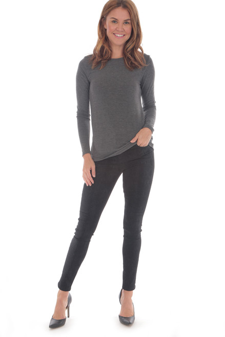 full body shot of dark grey crew neck long sleeve top with black skinny jeans