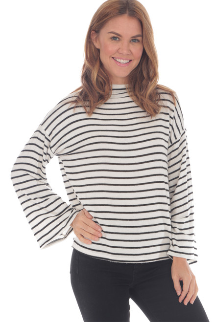 mock neck turtleneck top with bell sleeves and black and white stripes