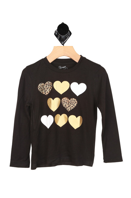 Metallic & Leopard Hearts L/S Tee (Toddler)