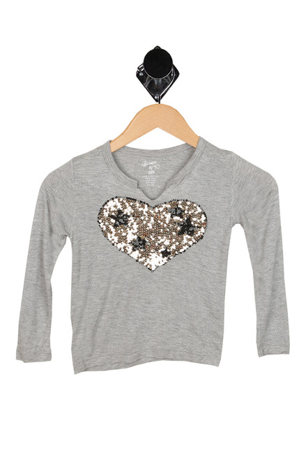 L/S Sequin Heart Tee (Little Kid)