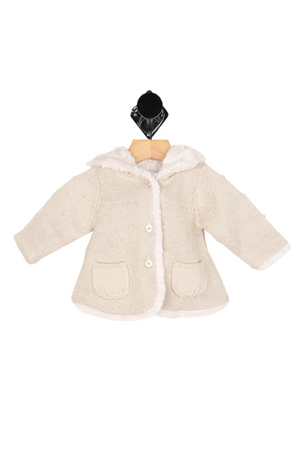 Fur Lined Pom-Pom Knit Cardigan (Infant)