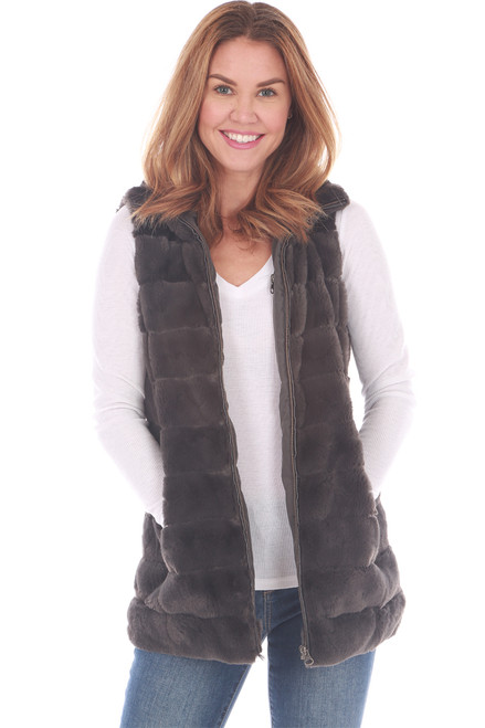Long Faux Fur Love Vest