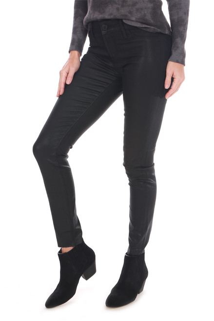 Wax-Coated Mid-Rise Skinny Jeans