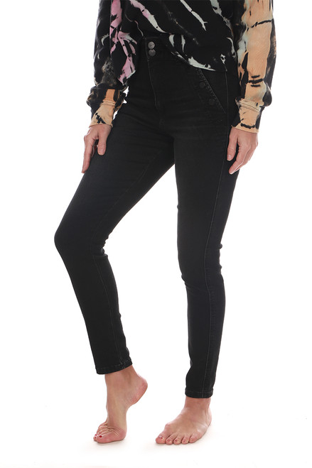 High Rise Washed Black Skinny Ankle