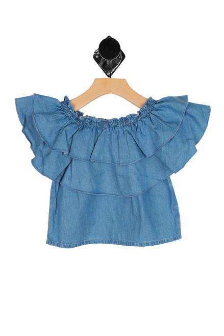 Chambray Off The Shoulder Top (Little Kid)