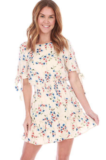 Smocked Waist Floral Mini Dress