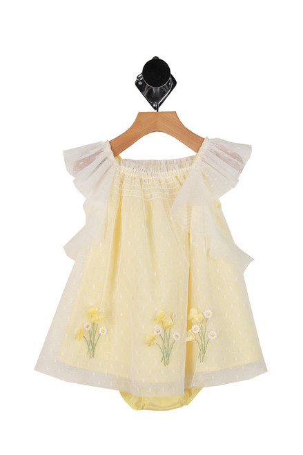 Tulle Dress W/ Flowers Two-Piece Set (Infant)