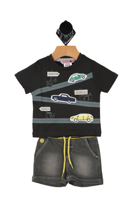 Denim Shorts W/ Car Tee Set (Infant)