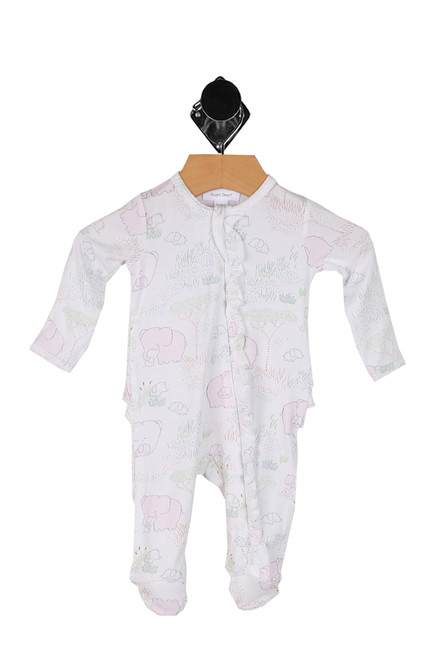 Ruffle Front Zip Up Footie Onesie (Infant)