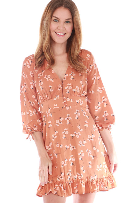 3/4 Sleeve Floral Mini Dress