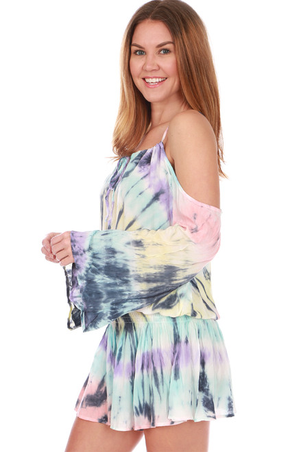 Cold Shoulder Tie Dye Tunic