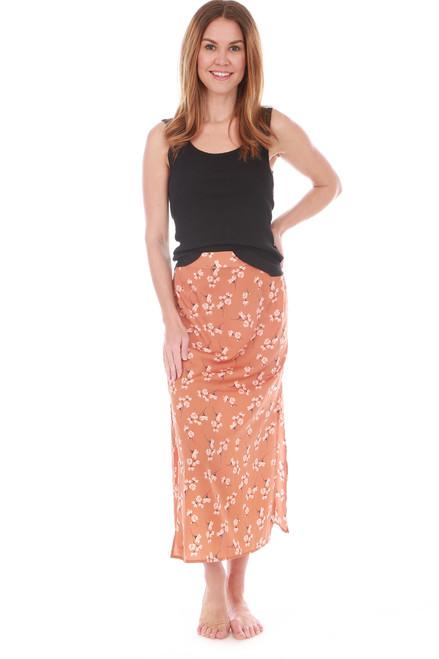 Floral Midi Skirt W/ Slit