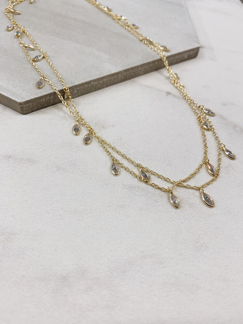 Gold Crystal Droplets Necklace