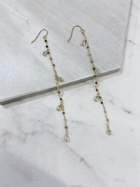 Long Droplet Earrings W/ Colorful Beading