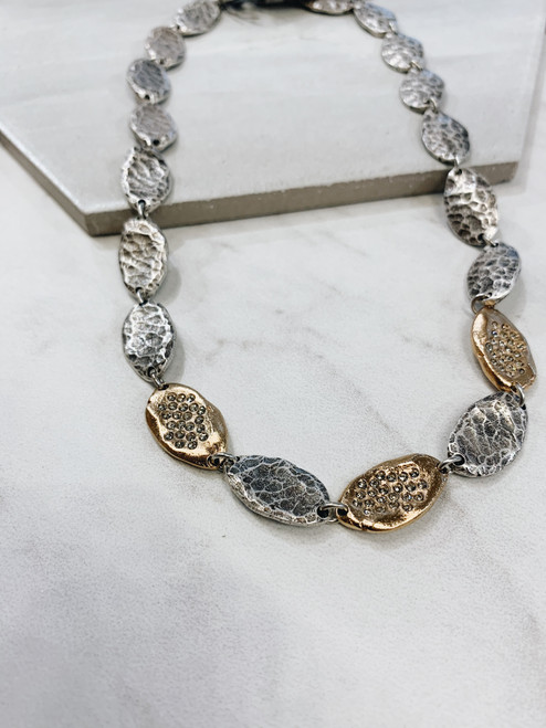Two-Tone Impression Oval Necklace
