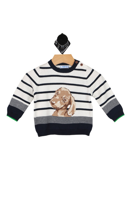 navy and white striped long sleeve sweater with brown puppy face printed at front