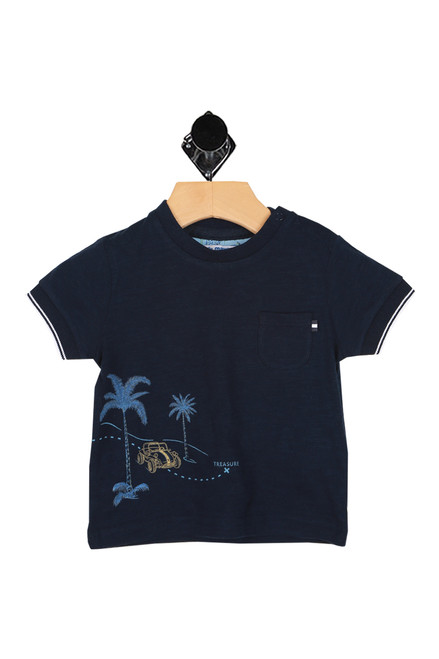 snap closure at neck with palm trees, treasure & car printed at front on navy blue top