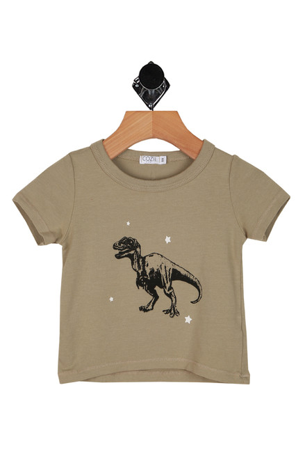 black t-rex printed at front on soft sage green tee