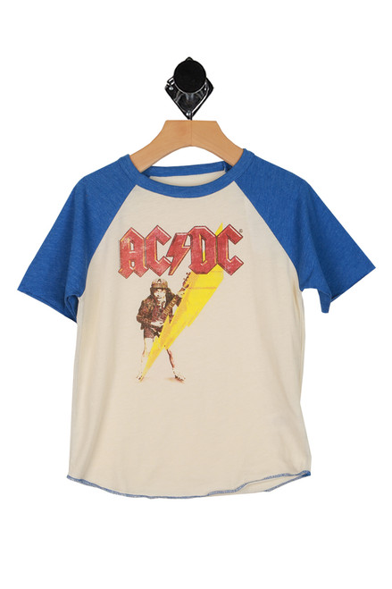 raglan short sleeve tee with blue sleeves and ACDC graphic printed at front
