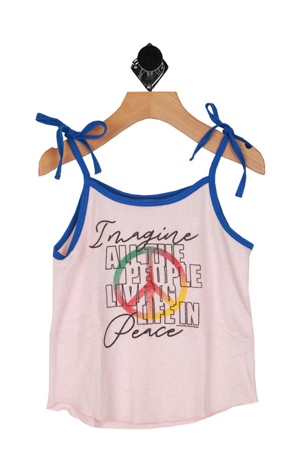 "terry cloth pink tank with ""imagine all the people living life in peace"" printed at front, self tie blue tank straps"