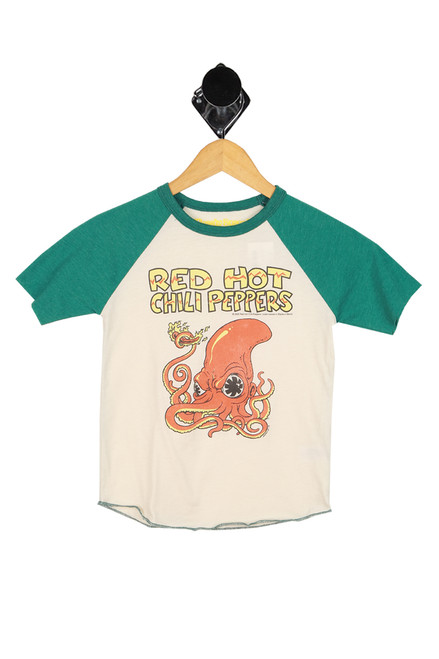 red hot chili pepper graphic printed at front on raglan style tee with green sleeves and cream body