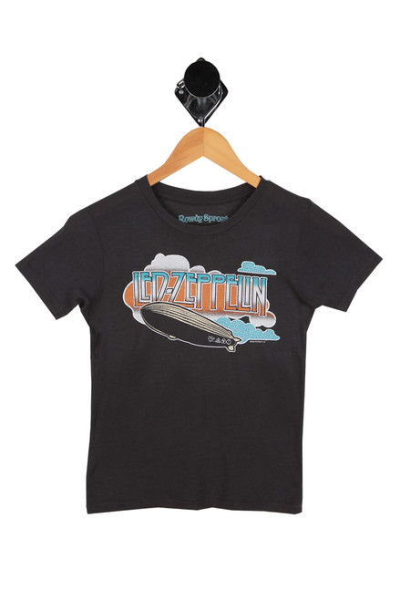 led zeppelin graphic printed at front on short sleeve dark grey tee